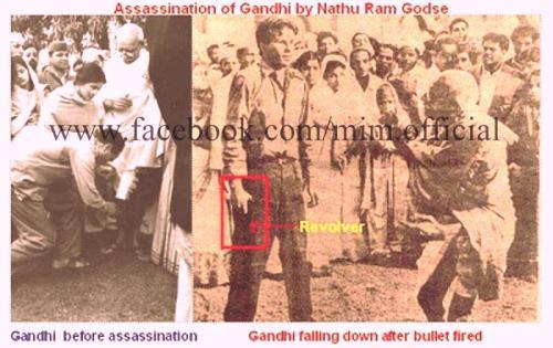 Godse shoots Gandhiji